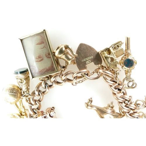 1371 - 9ct Rose Gold bracelet with 25 various 9ct gold charms, 49.7 grams...