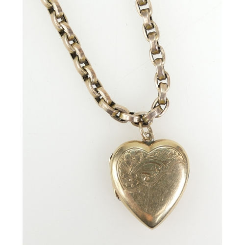1373 - Victorian 9ct Rose Gold necklace with small later 9ct back and front heart locket, 19.3 grams...