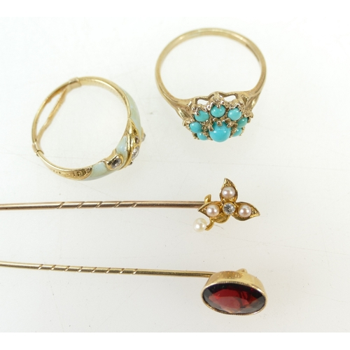 1377 - Mid 19th century jewellery - 9ct diamond ring, 9ct ring set with turquoise and two 9ct gold pins, 8....