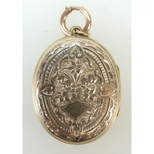 1378 - 19th century Gold coloured metal enamelled oval pendant decorated with Snow Drops, 13.5 grams...