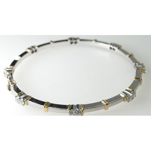 1388 - 18ct White & Yellow Gold Tennis Bracelet / Bangle, 20.3 grams...