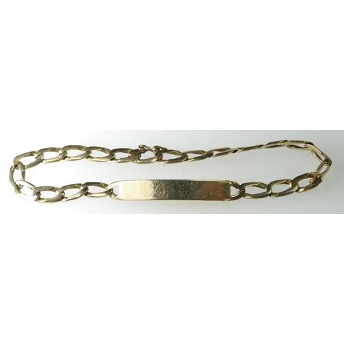 1392 - 9ct Gold Identity Bracelet, 7.6 grams...