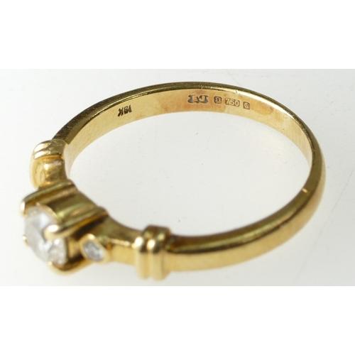 1395 - 18ct three stone Diamond Ring, size I, 2.6 grams...