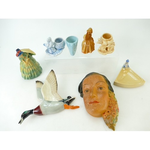 294 - A collection of Wade pottery including cellulose lady wall plaque Sonia, cellulose figure Sunshine, ...