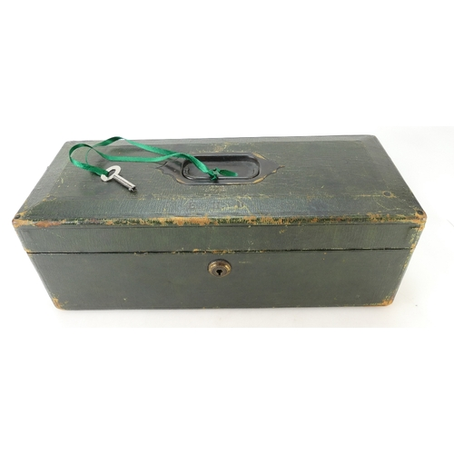 900 - JEWEL / JEWELLERY / VALUABLES BOX - leather covered box by Wickwar & Co. 6 Poland Street, London. Br...