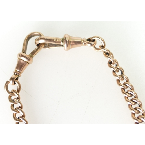 1404 - Victorian 9ct Rose Gold Double Albert chain with T-bar and pendant, 53.8 grams...