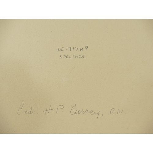 12 - Commander H P Currey Royal Navy - active during WWII - large studio portrait bearing full title and ...