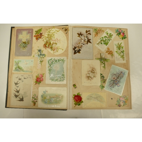 139 - A large an interesting collection of many Victorian SCRAPS and Greetings Cards well presented and ma...