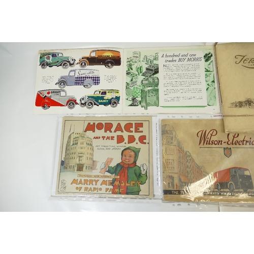 159 - Five BROCHURES including - Morris 10cwt and 5cwt light VANS catalogue 1938, Wilson Electric Car 1935...
