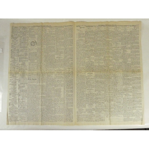 189 - Scarce original Newspaper - The DAILY EXPRESS edition number one.  In particularly good condition, s...