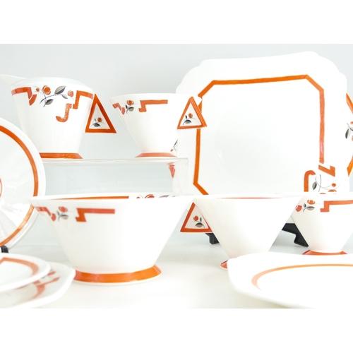 206 - A Shelley Vogue shape teaset for six, pattern no.11739, comprising milk jug and sugar basin, six cup...