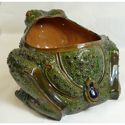 211 - Large FROG jardiniere, probably French and of unusual design.  Measures 30.5cm long x 24cm wide x 16...