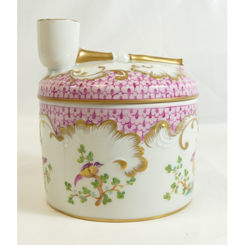 213 - LIMOGES large French porcelain tobacco jar with hand painted and gilded decoration, and featuring mo...