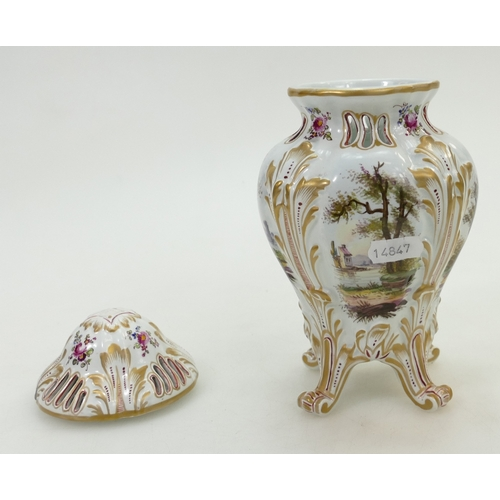 227 - 19th century pot pourri jar & cover hand painted with panels of classical scenes, gilded mark to bas...