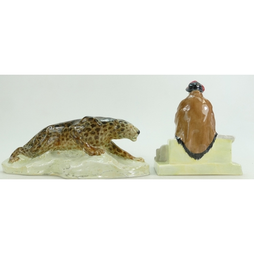 238 - A ceramic model of a leopard signed by W.F.Miller and a Cheyne Chelsea figure attributed to Gwendoli...