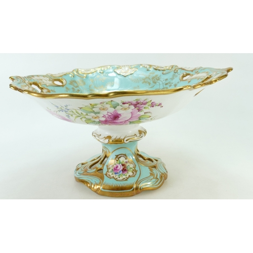 245 - Hammersley Fine China ornate comport, shaped, gilded and handpainted with roses and flowers by D Mil...