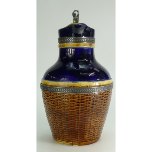 273 - 19th century Majolica jug with metal fittings decorated as a woven basket, height 23cm....