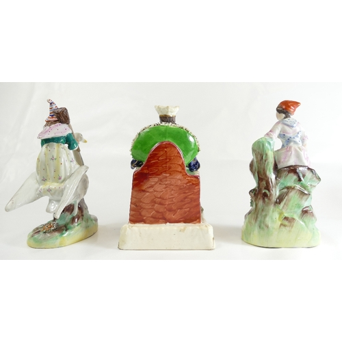 299 - Young Queen Victoria Staffordshire figure, witch with goose and girl with drum, all about 18cm (3)...
