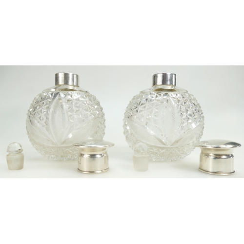 1116 - Matching pair of Walker & Hall large silver topped cut glass Scent Bottles / Decanters / Flasks, in ...