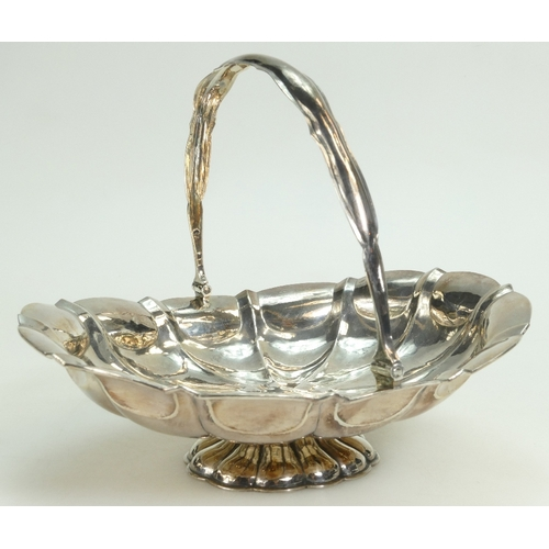 1121 - Russian large silver Basket with swing handle, 5 various marks to base including 84, JFA, 1862 & 2 s...