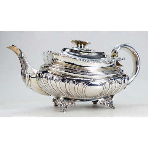 1126 - George IV Silver teapot, hallmarks for London 1824, maker CF. Weight 757.5g / 24.35 tr oz...