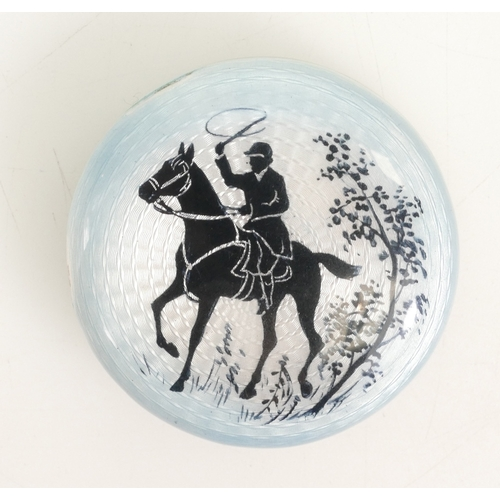 1129 - Continental Silver, Neillo & Guilloche enamel large pill / patch / powder box, depicting horse & rid...