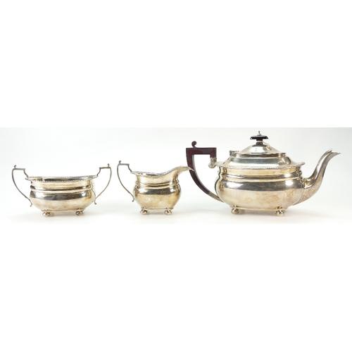1131 - Hallmarked sterling silver 3 piece Tea set, Birmingham 1959 /60. Weight 995.8 grams all in....