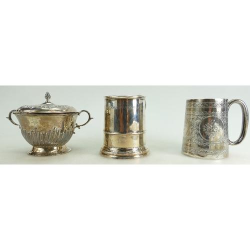 1144 - Victorian silver Christening mug London 1885, similar Sheff. 1935 both with engraved dedications, an...