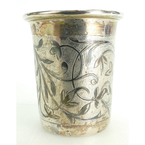 1145 - A fine solid silver and Niello Russian mid / late 19th century Kiddish cup.  The mid section engrave...