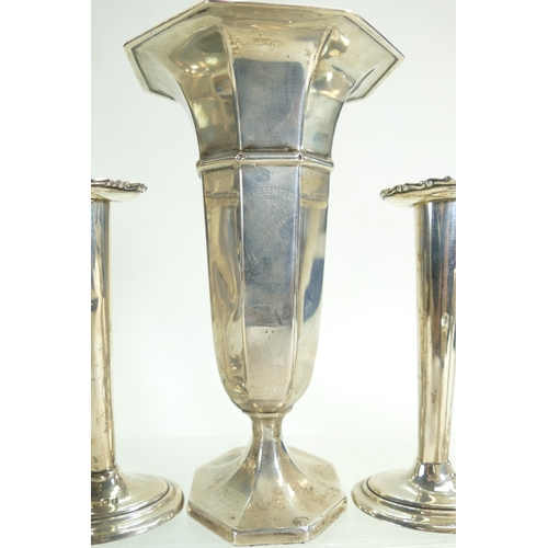 1162 - Group of Silver hallmarked items, including 2 pairs of candlesticks, 2 pairs of vases, larger vase w...