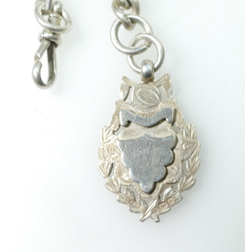 1164 - Heavy silver single Albert Watch Chain and Fob, 95.8g. measures 36cm clip to ring not inc fob....