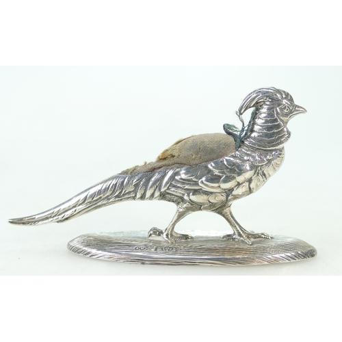 1169 - A silver PHEASANT novelty PIN CUSHION Chester 1905 Sampson Morden & Co. 9.5cm long overall....