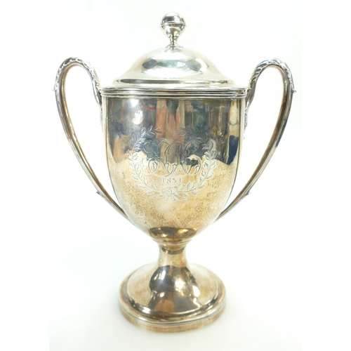 1173 - Georgian Silver two handled Trophy and cover hallmarked for London 1831, maker John Edward Terrey wi...