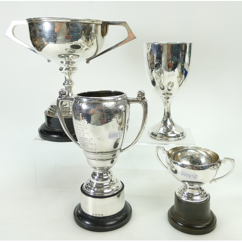 1175 - Silver two handled Trophy ''The Winchurch Wright Cup'' and hallmarked for Birmingham 1933, another t...