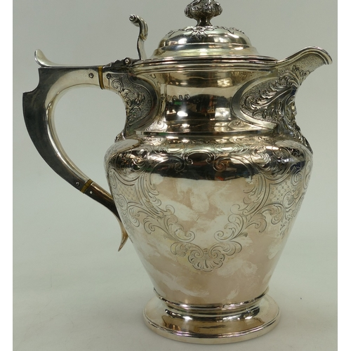 1182 - Large ornate Silver Water / Wine jug Edinburgh 1852.  Weight 964.5g.  25.5cm high.  Maker JMc....