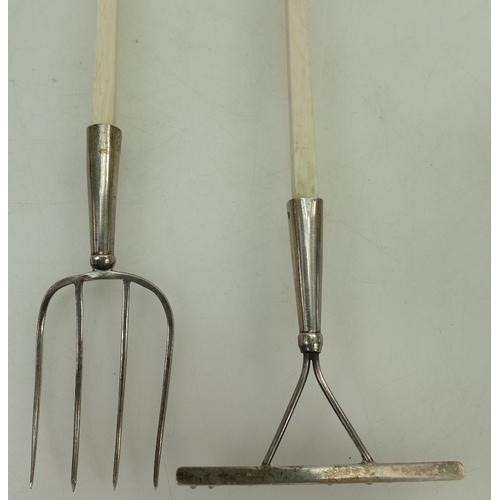 1184 - Continental Silver Tools stamped .800 - miniature garden fork & rake with bone / ivory handles.  Rak...