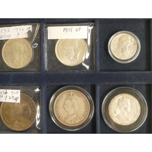 1187 - Small collection x 23 UK coins & medallions including silver double florin 1889, silver Edward VII c...