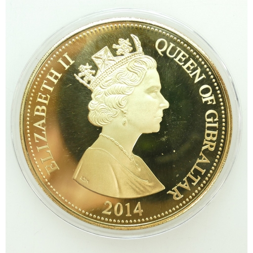 1189 - Gibraltar £10 silver & gold plated 5 tr oz WWI commemorative coin, 2014. 156.8g Jubilee mint....