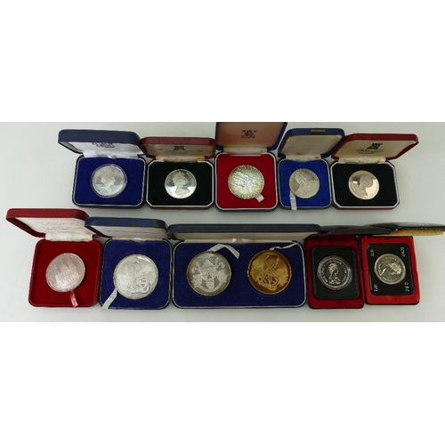 1188 - Ten Silver Coins / Medallions. Lady Diana Spencer Official edition St Pauls Cathedral 45mm 36.0g (Ha...