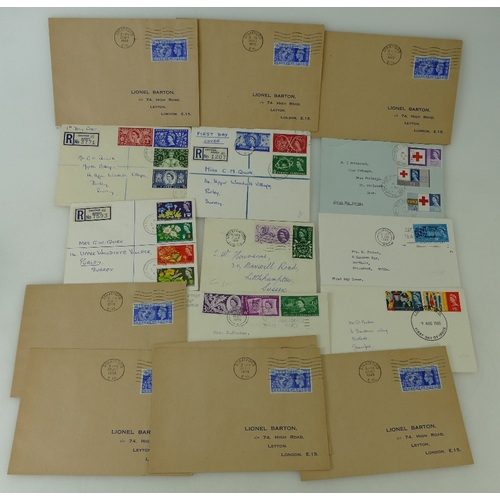 965 - Good collection of early QEII & GEO VI FIRST DAY COVERS, some registered but lightly cancelled.  Inc...