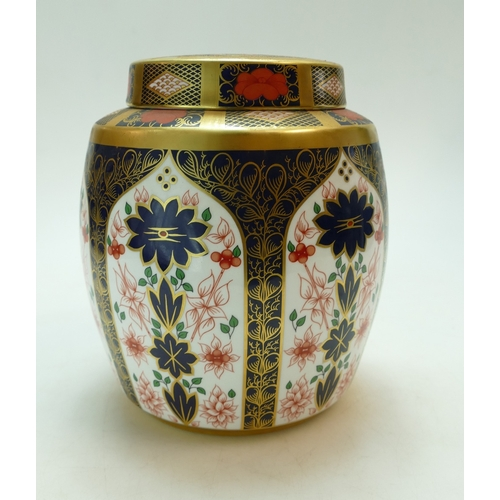 463 - Royal Crown Derby ginger jar & cover decorated in the 1128 Imari design, height 21.5cm...