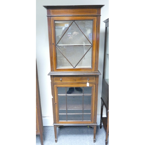 777 - Edwardian Inlaid Glazed 2 Tier Display Cabinet, with single drawer (35cm Depth x 169cm Tall x 62cm W...
