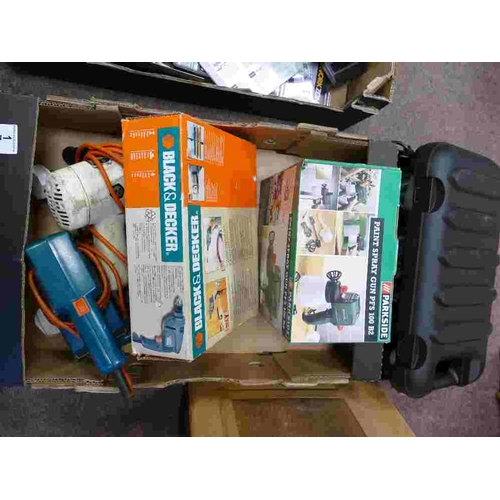 1 - A collection of power tools to include Black & Decker KR420 drill, KR200K drill, DN41 Sander, Heat G...