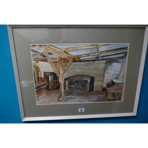 28 - Hilda Smith local artist watercolour titled Kitchen at Haddon Hall 56cm x 74cm...