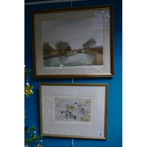 29 - Framed Local Interest Gilbert browne limited edition print titled Grand Union Canal No 11 and simila...