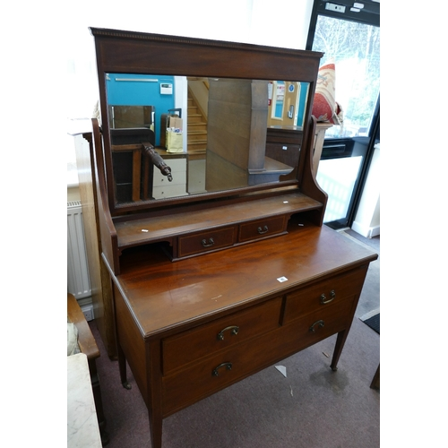 46 - Edwardian Mahogany inlaid dressing table with a single mirror...