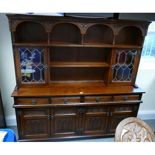 51 - 20th Century oak large old charm dresser sideboard with a four over base and two lead glazed doors...