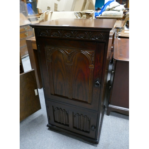 54 - Unmarked but presumed old charm 20th Century oak record cabinet...