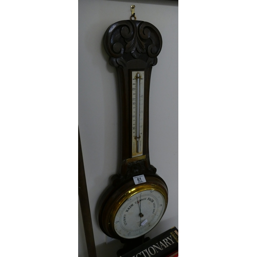 61 - Early 20th Century oak case Android barometer...