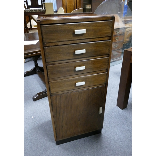 62 - 1960's Mahogany tall boy / musical sheet cabinet with four drawers over a single door...